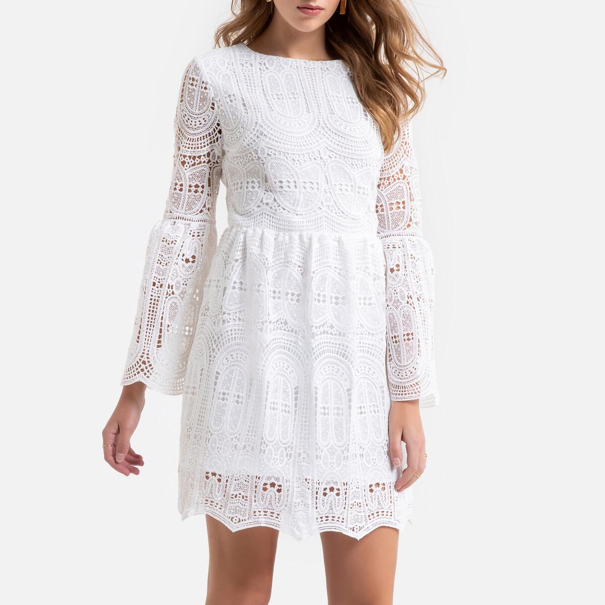 Платье La Redoute Короткое из кружева широкие рукава M белый