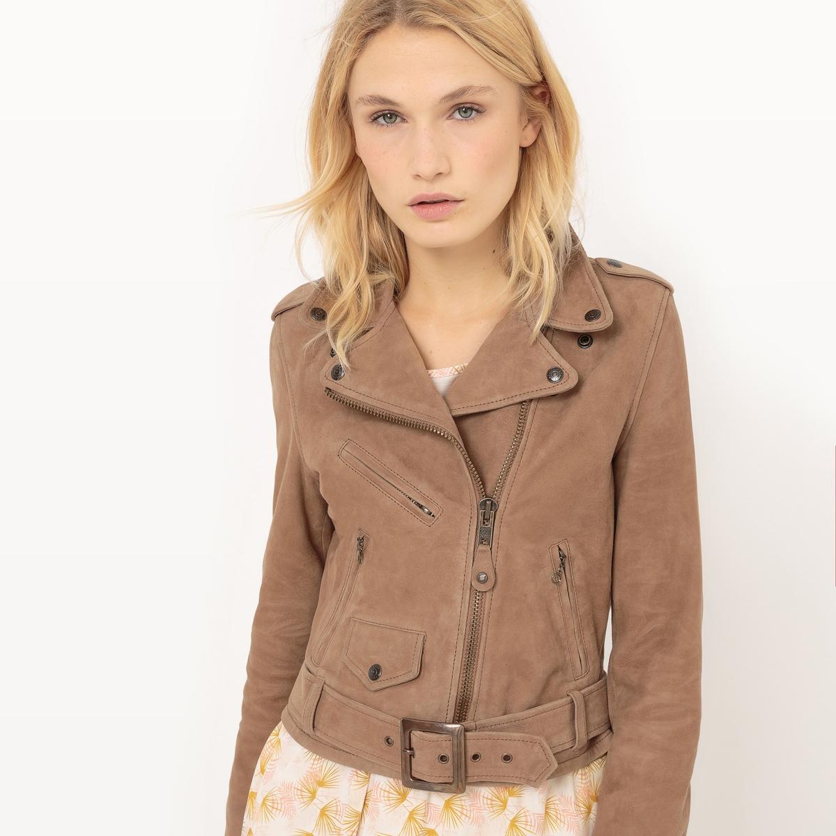 Куртка кожанаяМатериал : 100% кожаТип застежки : застежка на молнию.  Форма воротника : воротник-поло, рубашечный. Длина : укороченная модельРисунок : Однотонная модель   Особенность изделия: С поясом<br><br>Цвет: темно-бежевый