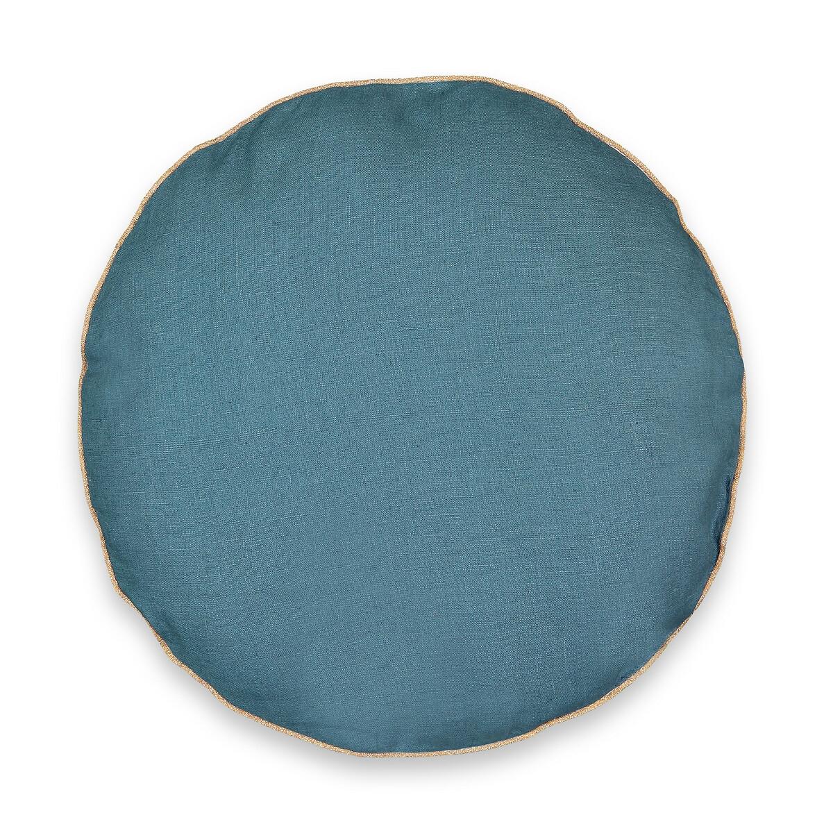 Фото - Подушка LaRedoute Круглая из стираного льна Onega диаметр 40 см синий простыня laredoute натяжная из стираного льна elina для толстых матрасов 160 x 200 см синий