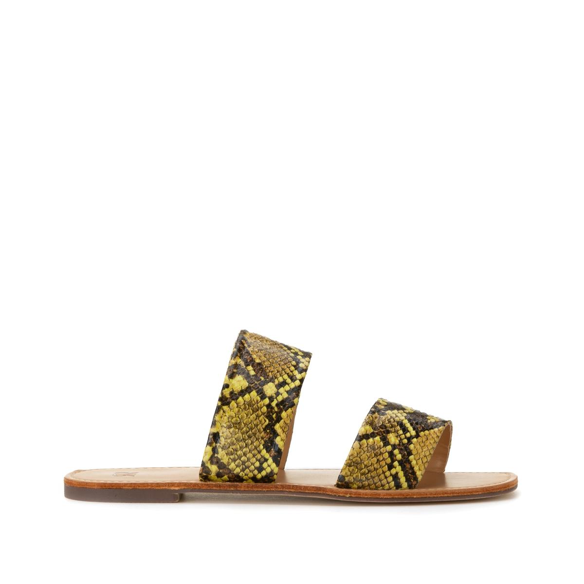 Туфли La Redoute Без задника с ремешками и питоновым принтом 40 желтый кеды сникеры la redoute с крокодиловым принтом 38 желтый