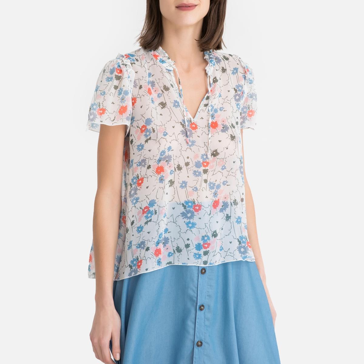 Блузка La Redoute С цветочным рисунком из вуали ANA NAHY XS каштановый блузка la redoute из вуали с принтом и длинными рукавами smoke 3 l каштановый