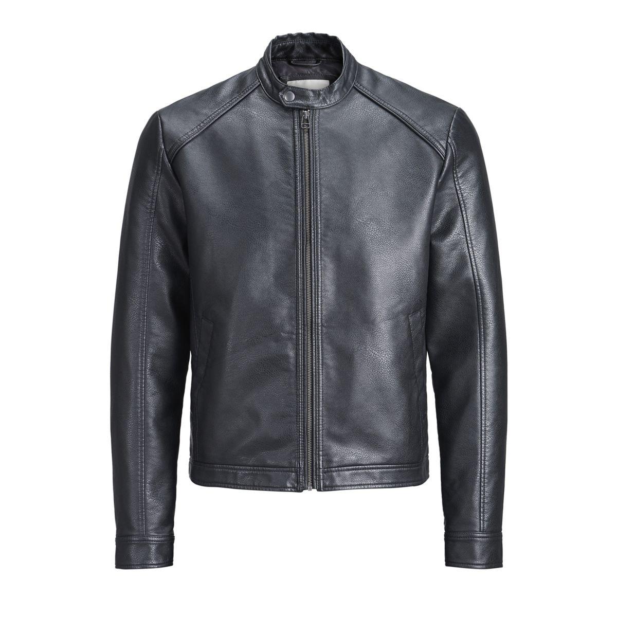 Blouson biker faux cuir, mi-saison