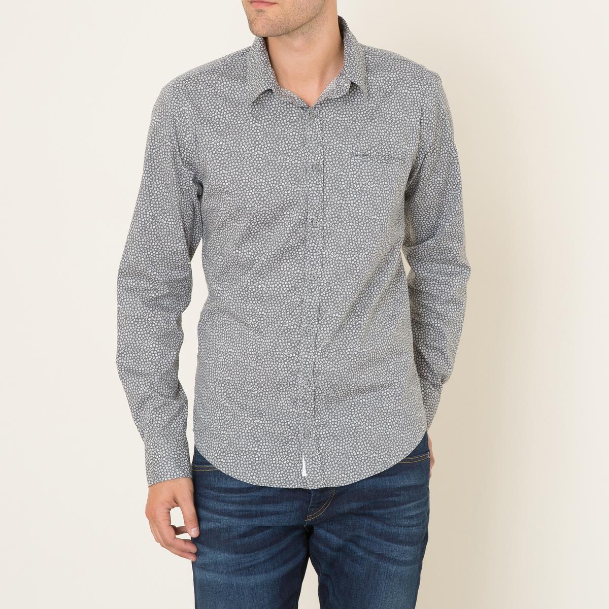 Рубашка ORLANDOРубашка HARRIS WILSON, модель ORLANDO. Классический воротник. Длинные рукава с застежкой на пуговицы. 1 нагрудный прорезной карман . Слегка закругленный низ. Сплошной цветочный рисунок.Состав и описание Материал : 97% хлопка, 3% эластанаМарка : HARRIS WILSON<br><br>Цвет: серый