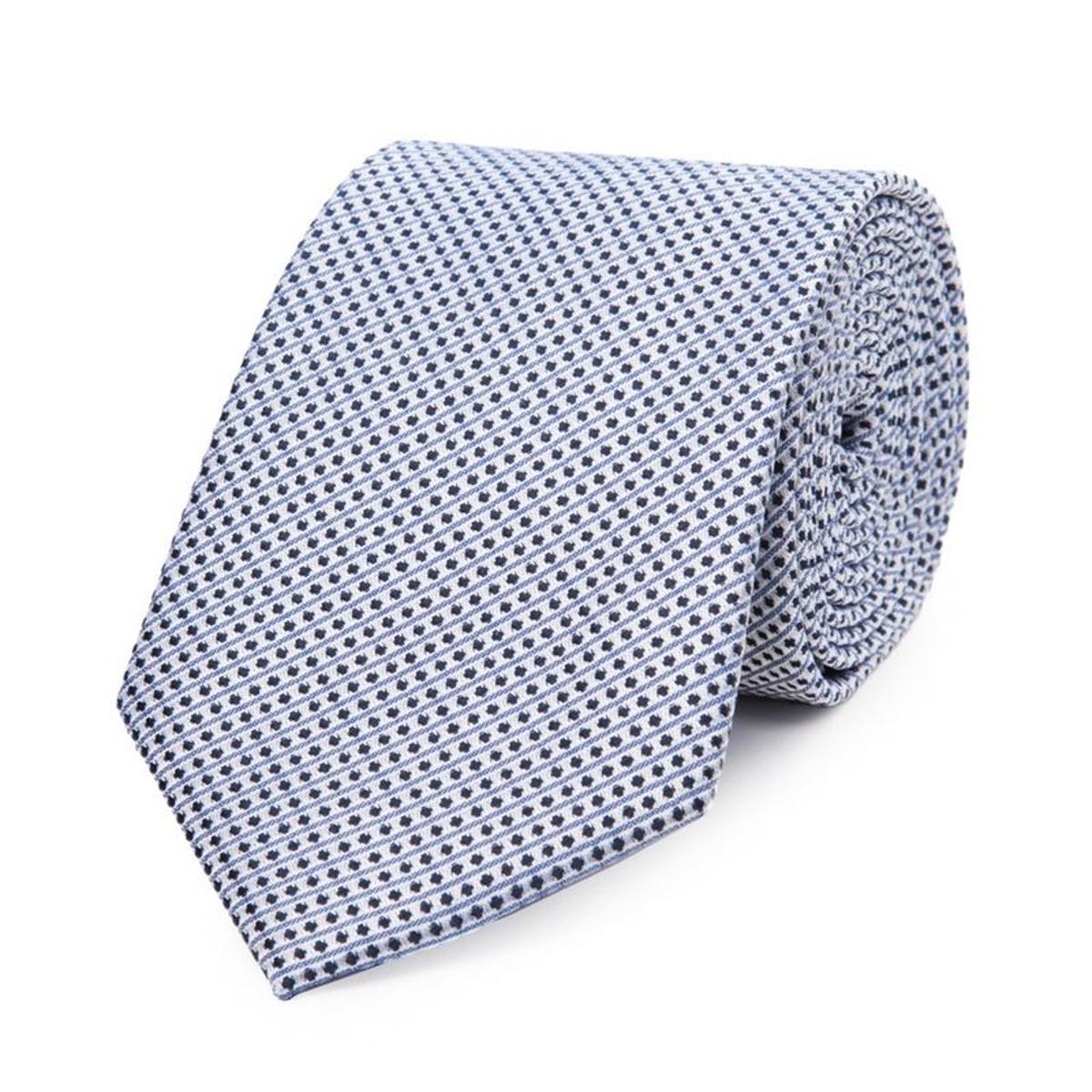 Cravate en soie e à rayures et pois s