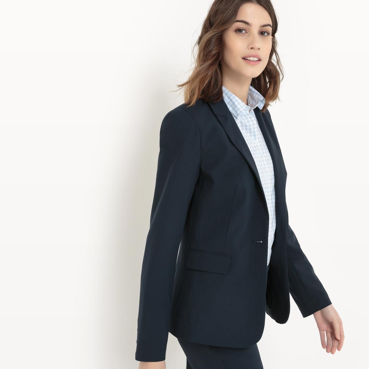 Пиджак костюмный, длина 60 смКлассический костюмный пиджак R essentiel . Застежка на 1 пуговицу . Два кармана с клапаном.                 Состав и описание :                              Материал            62% полиэстера, 33% вискозы, 5% эластана             Длина         60 см         Марка            R essentiel                          Уход: :             Машинная стирка при 30 °С на деликатном режиме             Сухая чистка и отбеливание запрещены             Машинная сушка запрещена             Гладить на низкой температуре<br><br>Цвет: серый меланж,синий морской,черный<br>Размер: 36 (FR) - 42 (RUS).52 (FR) - 58 (RUS).50 (FR) - 56 (RUS).46 (FR) - 52 (RUS).42 (FR) - 48 (RUS).40 (FR) - 46 (RUS).36 (FR) - 42 (RUS).38 (FR) - 44 (RUS).34 (FR) - 40 (RUS).48 (FR) - 54 (RUS).48 (FR) - 54 (RUS)