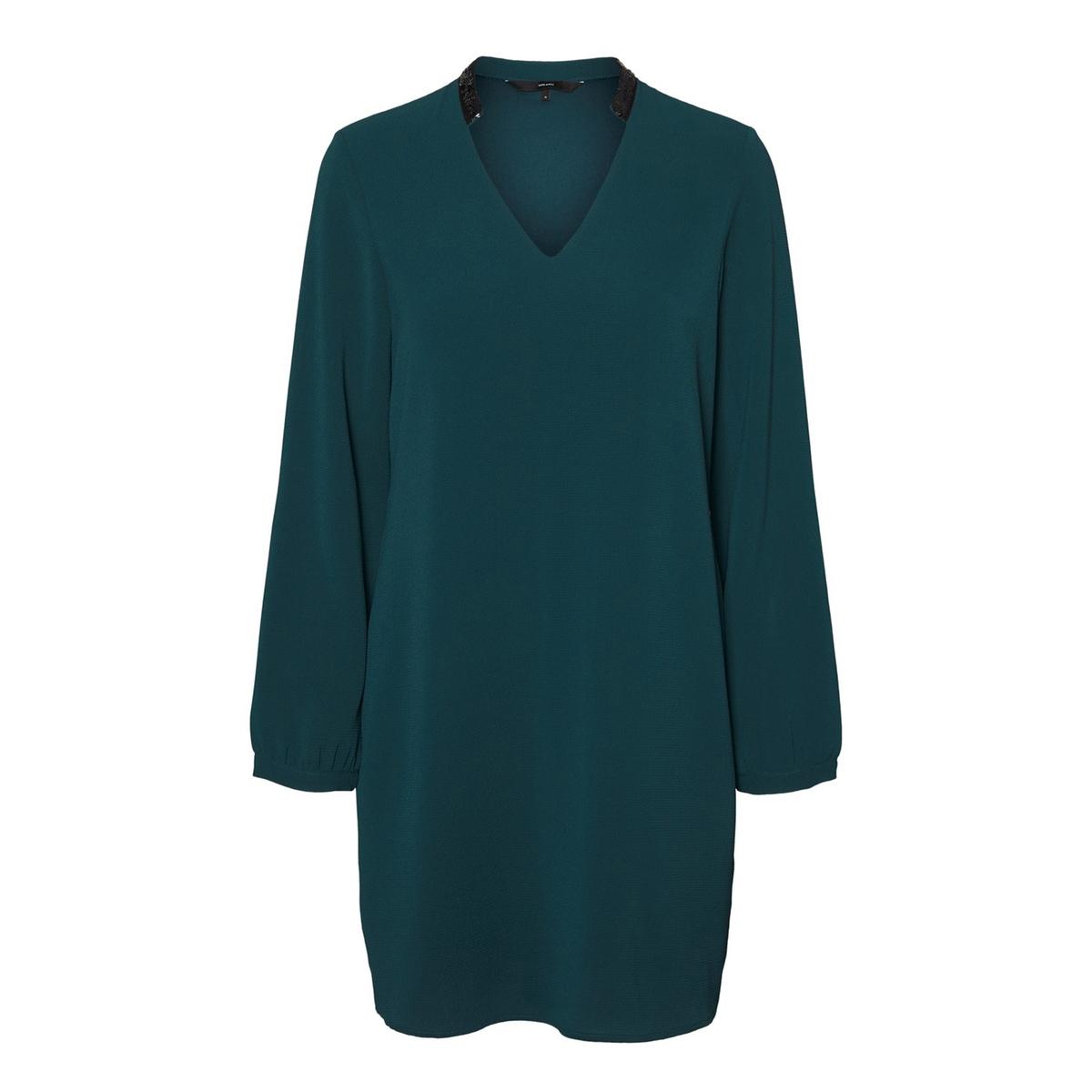 цена на Платье La Redoute Прямое укороченное V-образный вырез S зеленый