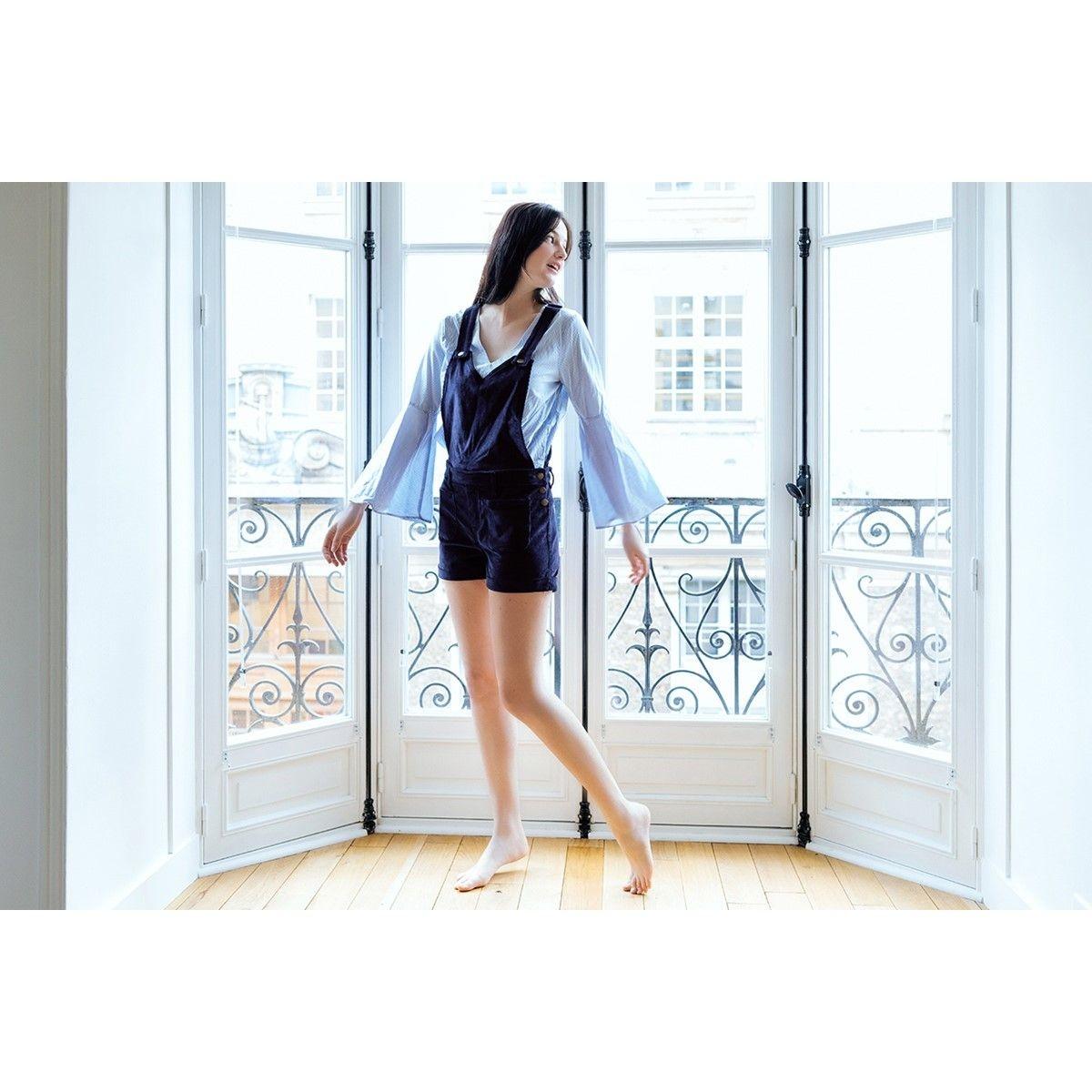 Salopette short 2en1 femme velours bleu
