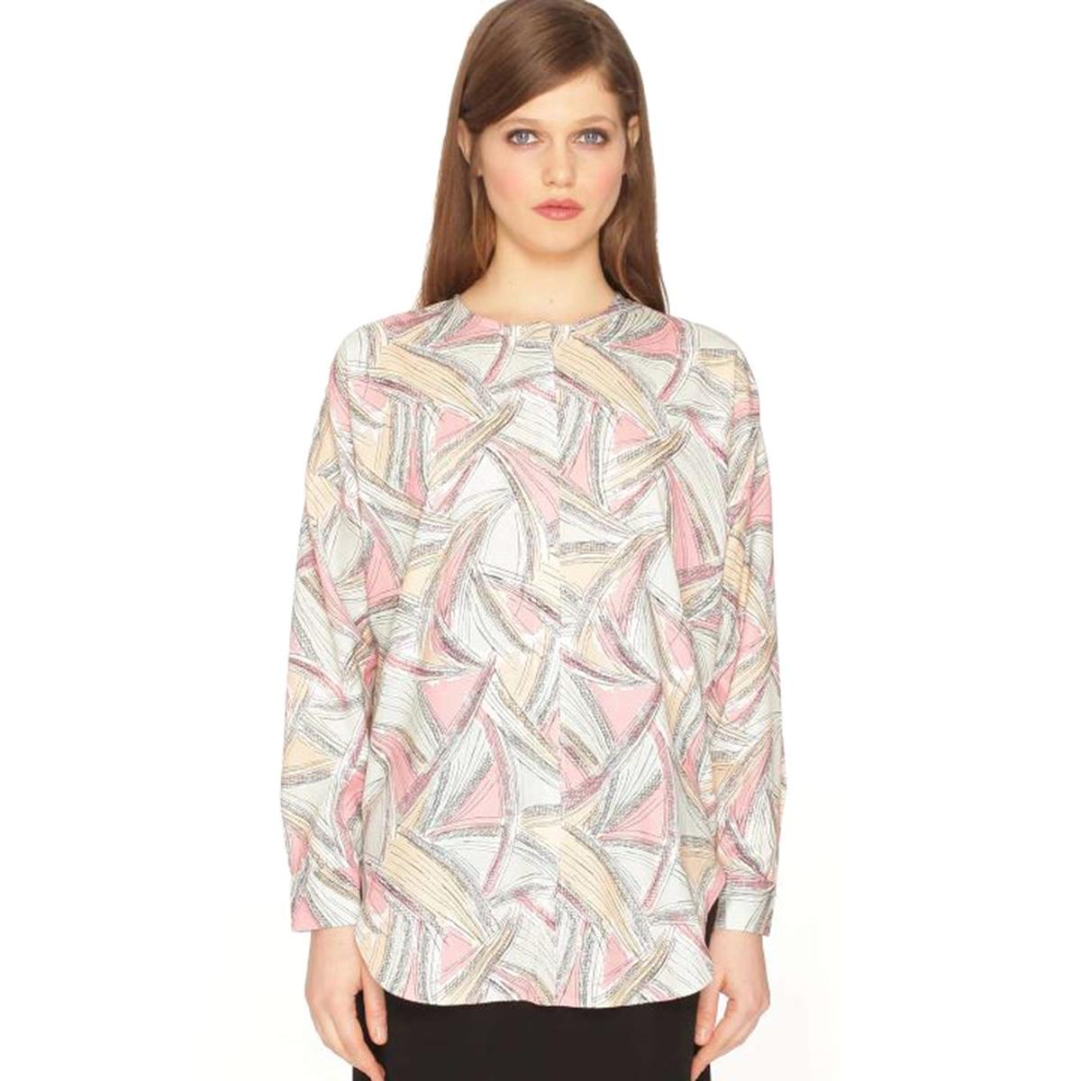 Блузка с круглым воротником, рисунком и длинными рукавами