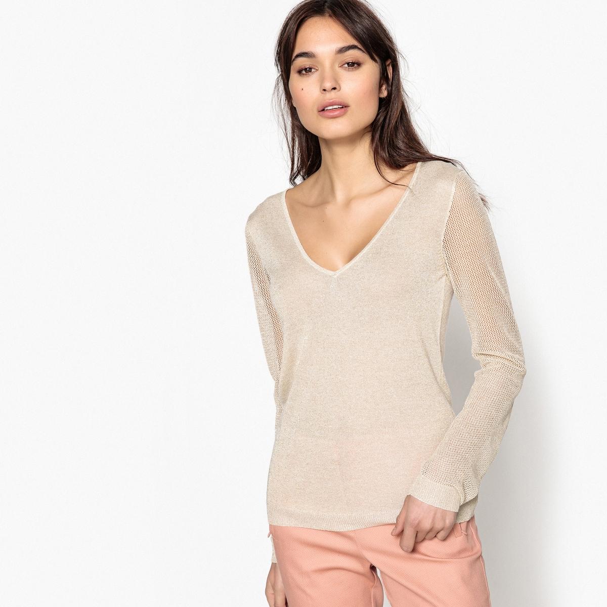 где купить Пуловер из тонкого трикотажа с V-образным вырезом по лучшей цене