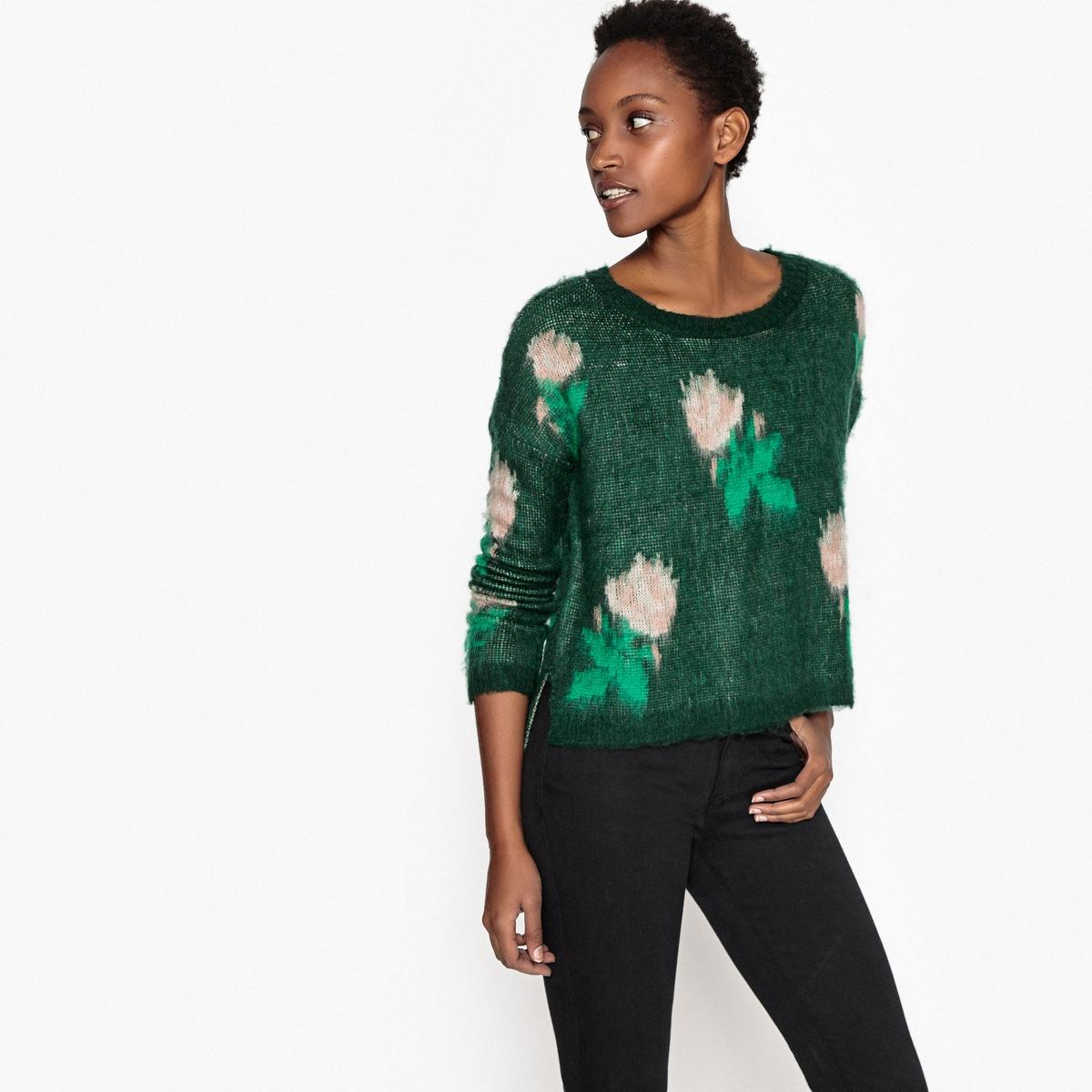 Пуловер с круглым вырезом из плотного трикотажаОписание:Детали •  Длинные рукава •  Круглый вырез •  Плотный трикотаж  •  Цветочный рисунок  Состав и уход •  100% акрил •  Следуйте советам по уходу, указанным на этикетке<br><br>Цвет: темно-зеленый<br>Размер: L