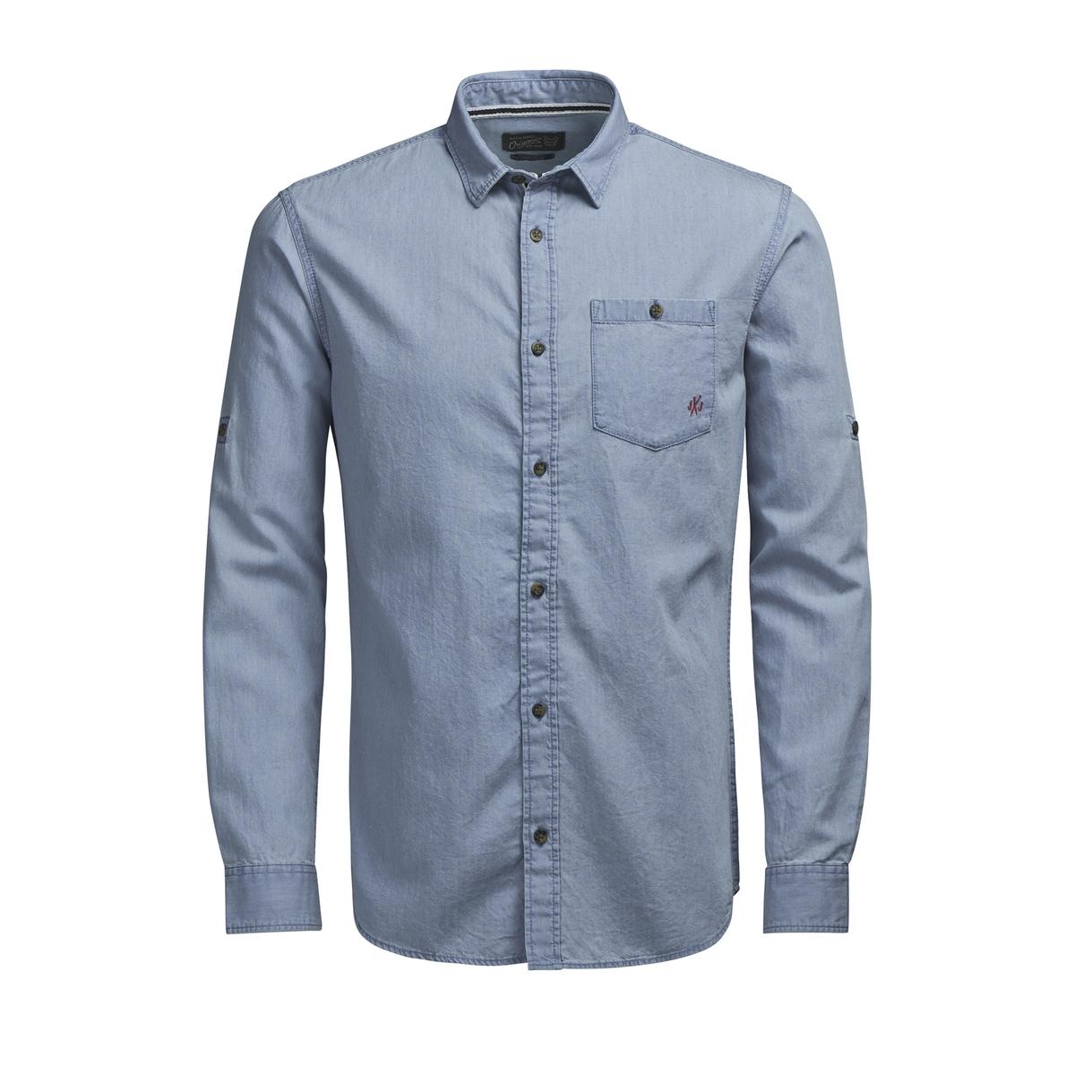 Рубашка с рисунком и длинными рукавамиДетали •  Длинные рукава •  Приталенный покрой   •  Классический воротник •  Рисунок-принтСостав и уход •  100% хлопок •  Следуйте советам по уходу, указанным на этикетке<br><br>Цвет: небесно-голубой<br>Размер: S