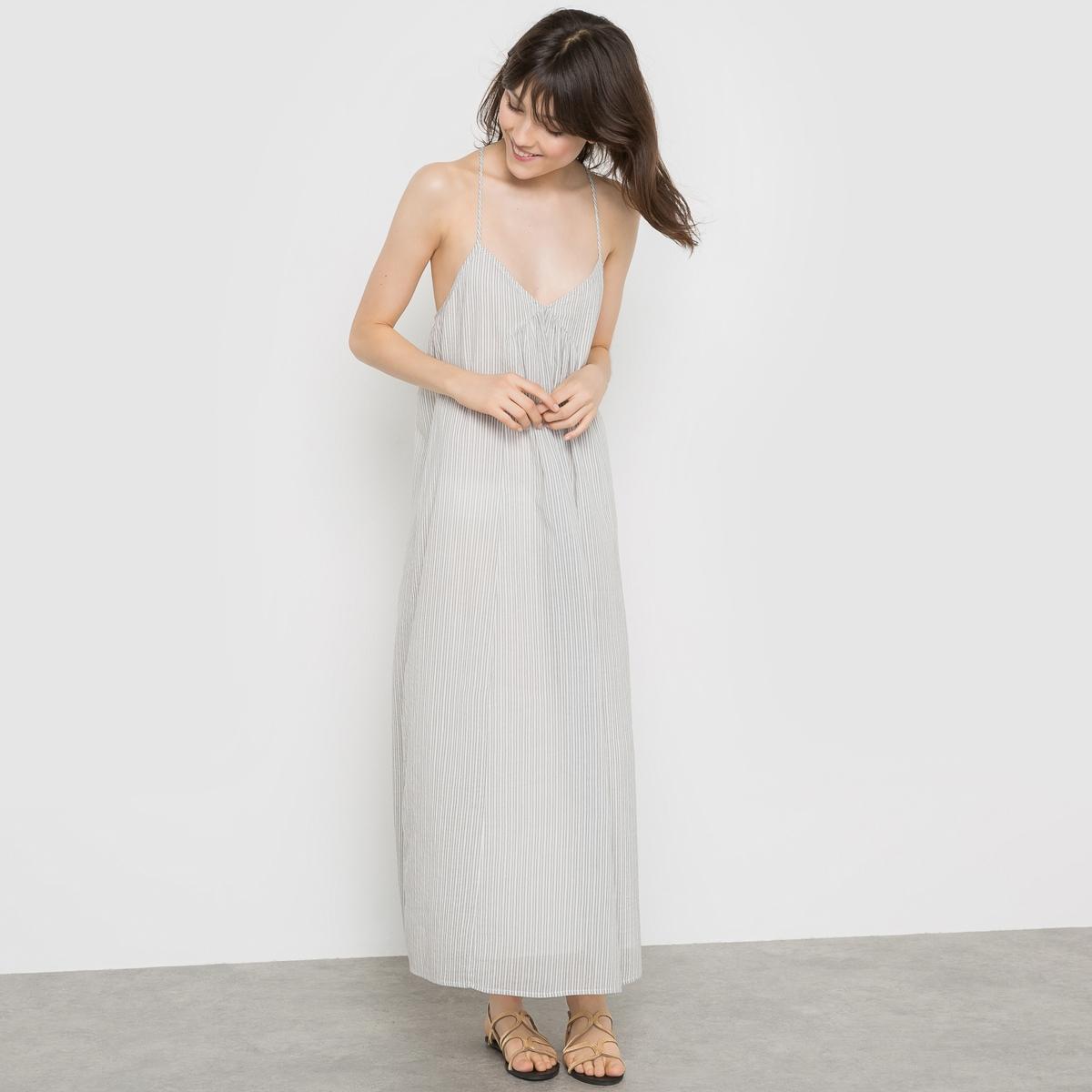 Платье длинное из хлопкаДлинное платье на тонких бретелях, открытая спина . Эластичная спинка. Складки под грудью. Длина ок.115 см.                    Состав и описание           Материал 100%  хлопка          Подкладка  100% хлопка           Marque R  ESSENTIELS          Уход          стирать при 30°C.<br><br>Цвет: в полоску<br>Размер: 36 (FR) - 42 (RUS)
