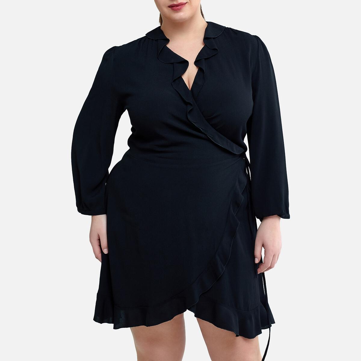 Платье La Redoute С запахом с воланами 52 (FR) - 58 (RUS) черный
