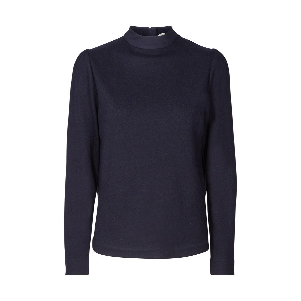 Рубашка однотонная с воротником-стойкой и длинными рукавамиДетали •  Длинные рукава •  Прямой покрой  •  Воротник-стойкаСостав и уход •  70% шерсти, 30% полиэстера •  Следуйте советам по уходу, указанным на этикетке<br><br>Цвет: синий морской