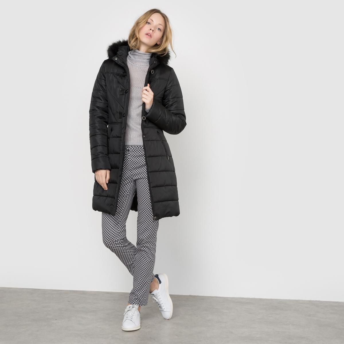 Куртка стеганая длинная с капюшоном