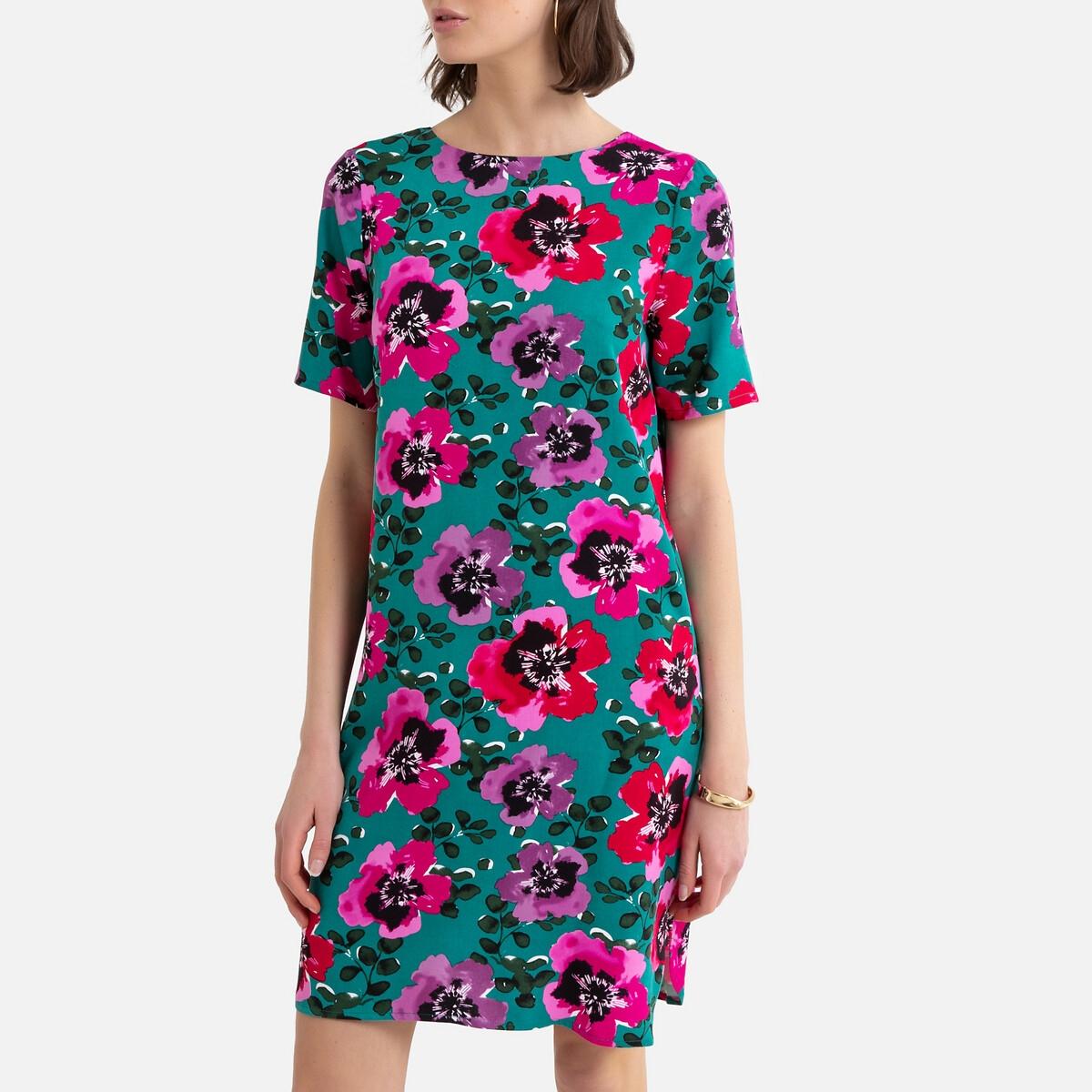 Платье-футляр La Redoute Короткое с цветочным принтом 36 (FR) - 42 (RUS) зеленый