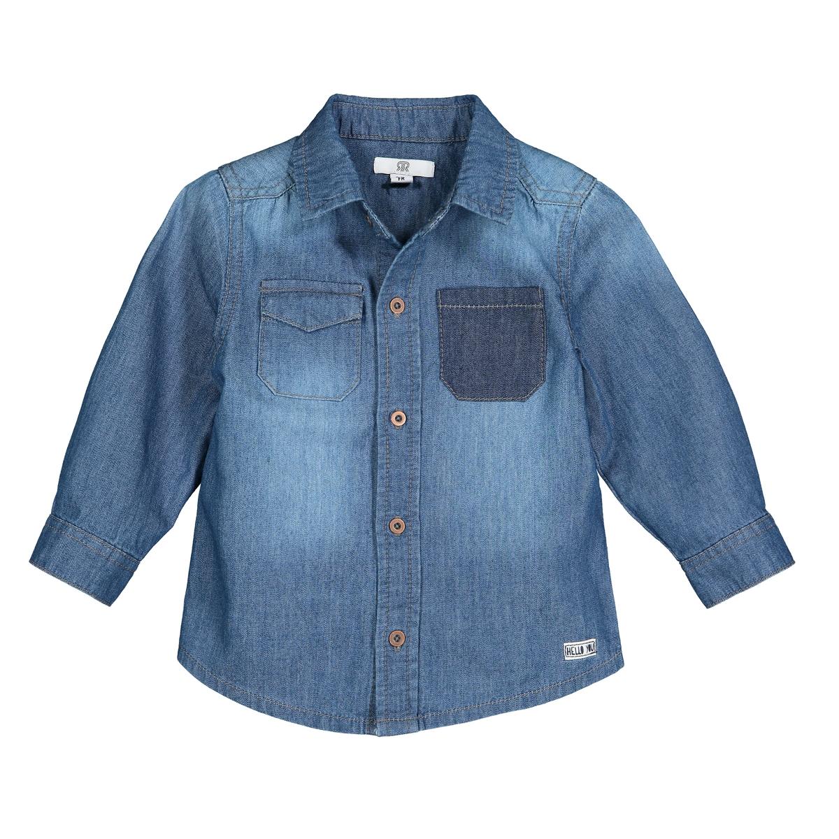 Рубашка La Redoute Из денима мес- года 2 года - 86 см синий комплект из предметов топ la redoute и шаровары мес года 1 мес 54 см синий