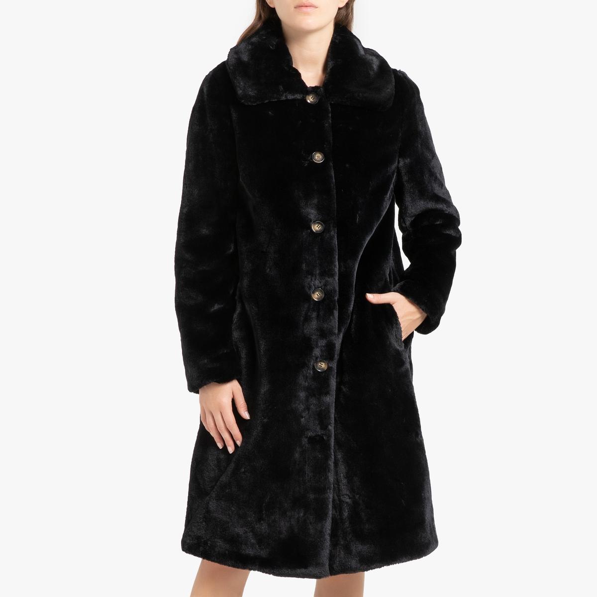 все цены на Пальто La Redoute Длинное с застежкой на пуговицы и рисунком PROGRAM L черный онлайн