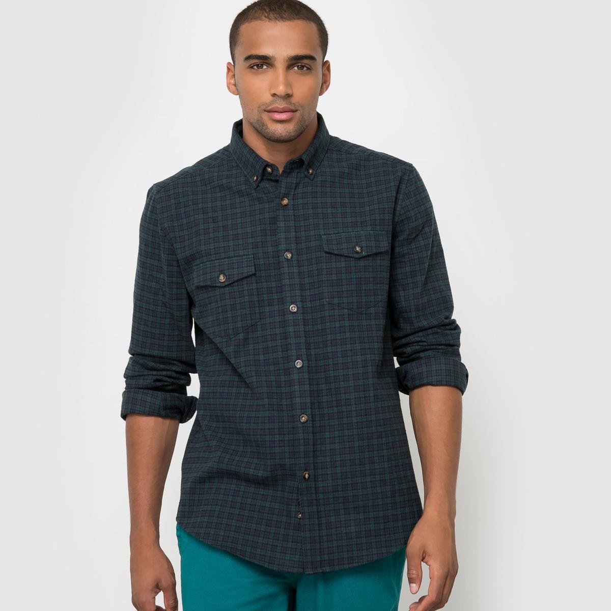 Рубашка прямого покроя с длинными рукавами, 100% хлопокРубашка в клетку из хлопка. Стильная рубашка прямого покроя в клетку в стиле casual. Можно носить только рубашку или с футболкой либо с пуловером зимой.  Материал : 100% хлопок  Прямой покрой. Застежка на пуговицы.<br><br>Цвет: в клетку<br>Размер: 39/40