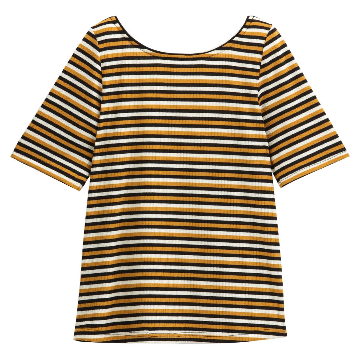 T-shirt às riscas, gola redonda, mangas curtas