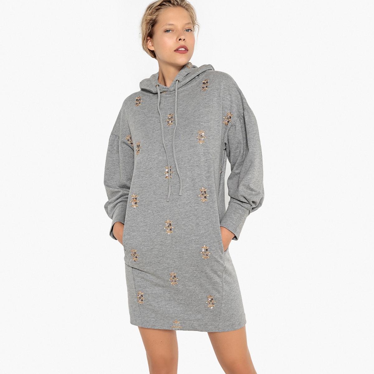 Платье-свитшот La Redoute С капюшоном и вышивкой 36 (FR) - 42 (RUS) серый чехол la redoute для кровати со встречными складками touril хлопок 90 x 190 см белый