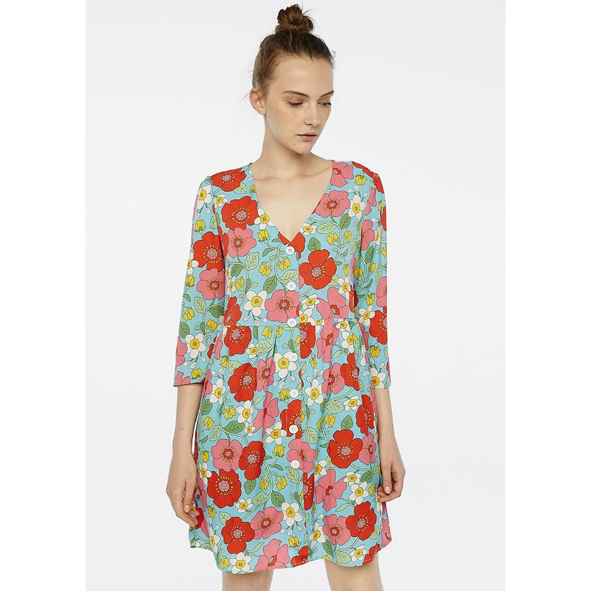 Платье La Redoute С цветочным принтом V-образный вырез на пуговицах рукава XS синий