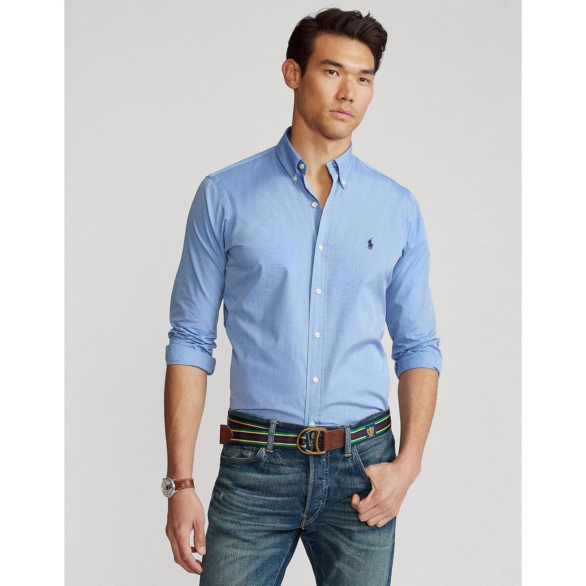 Рубашка LaRedoute Прямая стрейч XXL синий