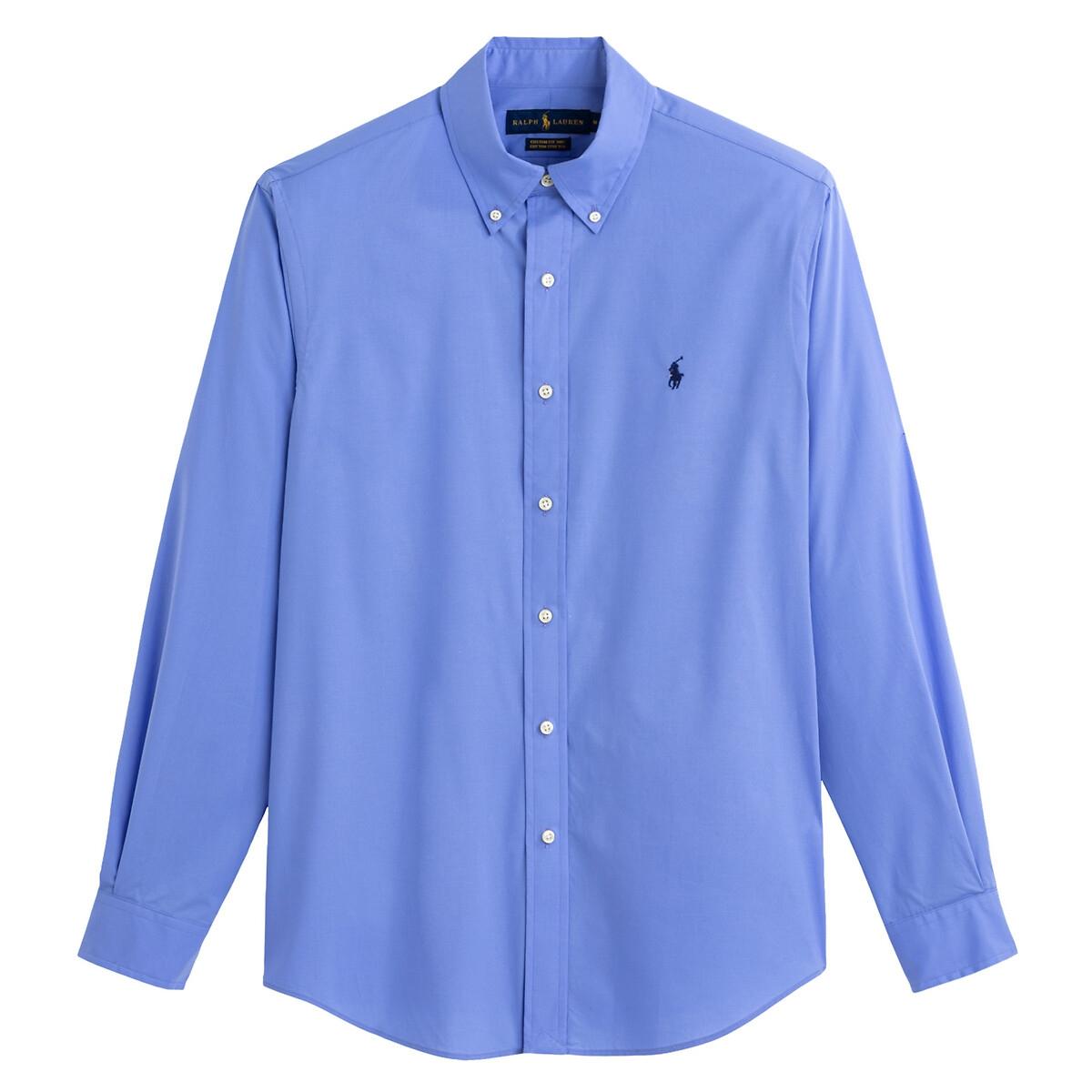 Рубашка LaRedoute Прямая из хлопкового поплина L синий