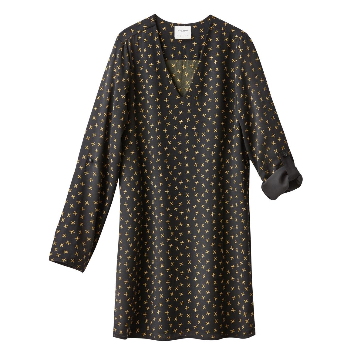 Платье короткое с длинными рукавами VMSCISSORКороткое платье VMSCISSOR от VERO MODA. Платье прямого покроя в форме кимоно. V-образный вырез. Ткань с оригинальным сплошным рисунком. Длинные рукава. Состав и описаниеМарка : VERO MODAМатериал : 100% полиэстер<br><br>Цвет: черный