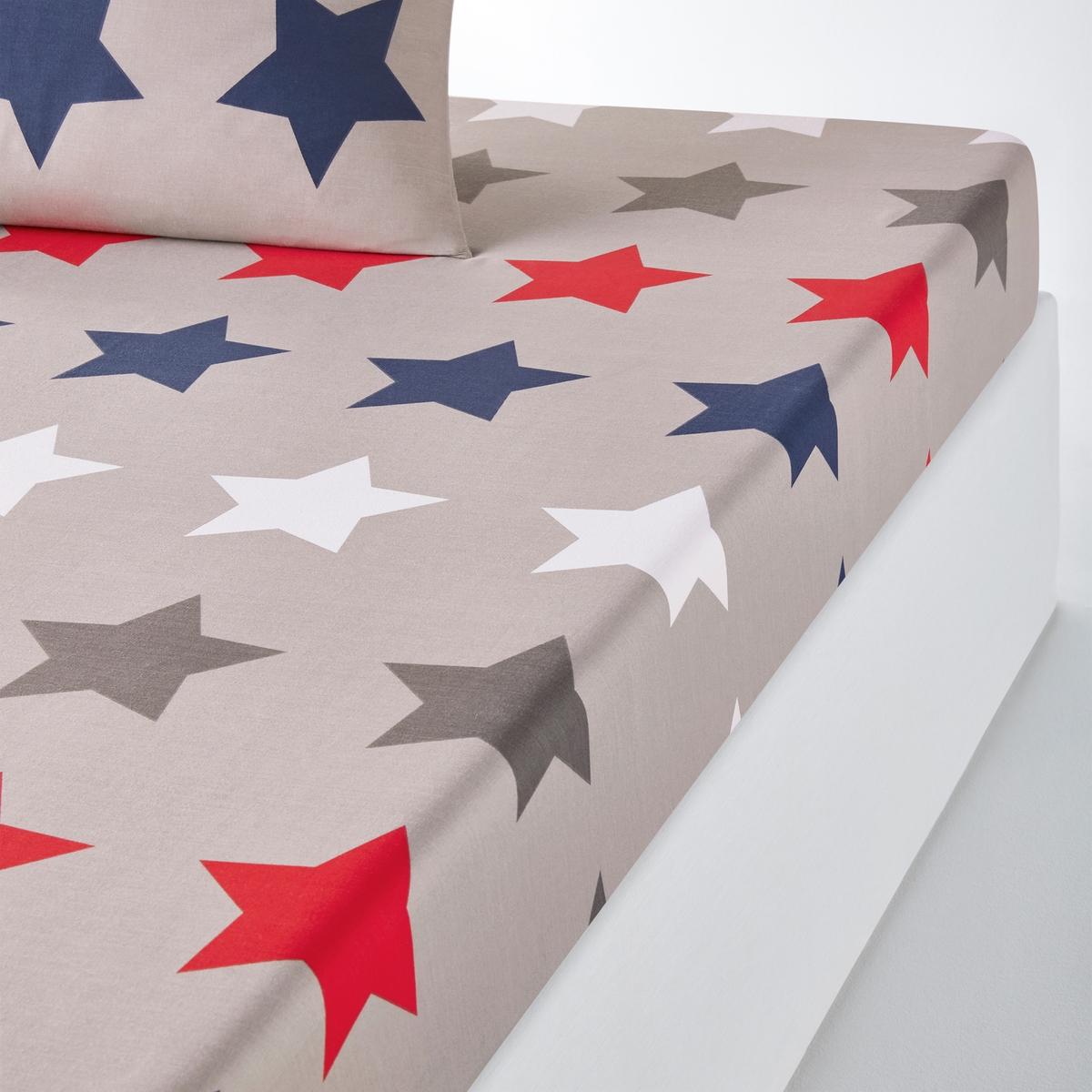 Натяжная простыня La Redoute STARS 160 x 200 см серый простыня la redoute натяжная из перкали grues 90 x 190 см синий