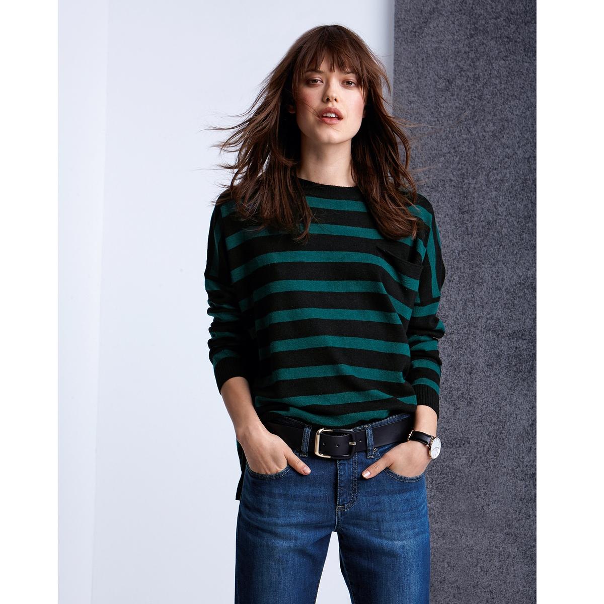 Пуловер, 50% шерсти ягненкаПолосатый пуловер с округлым вырезом из красивого трикотажа, 50% шерсти ягненка, 30% полиамида и 20% вискозы. Длинные рукава.Небольшой кармашек спереди.Длина 65 см.Полоски придают пуловеру динамизм, делая его идеальным дополнением к джинсам.<br><br>Цвет: черный в зеленую полоску