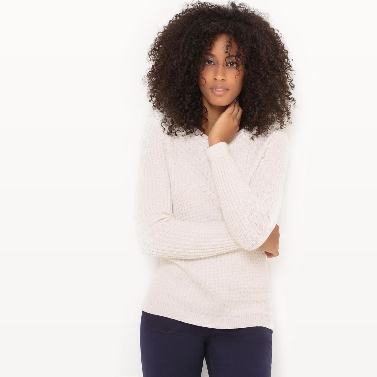 Пуловер из оригинального трикотажа с круглым вырезом