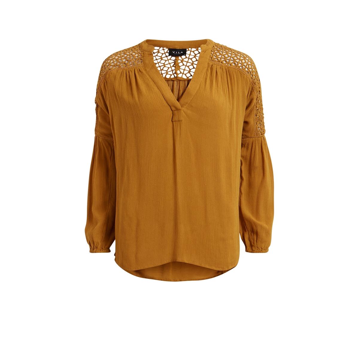 Блузка Vijannie с кружевом на плечахСостав и описаниеМарка: VILA.Модель: Vijannie.Материал: 100% вискоза.УходСтирать при 30°Cс вещами подобных цветов.<br><br>Цвет: горчичный<br>Размер: XS