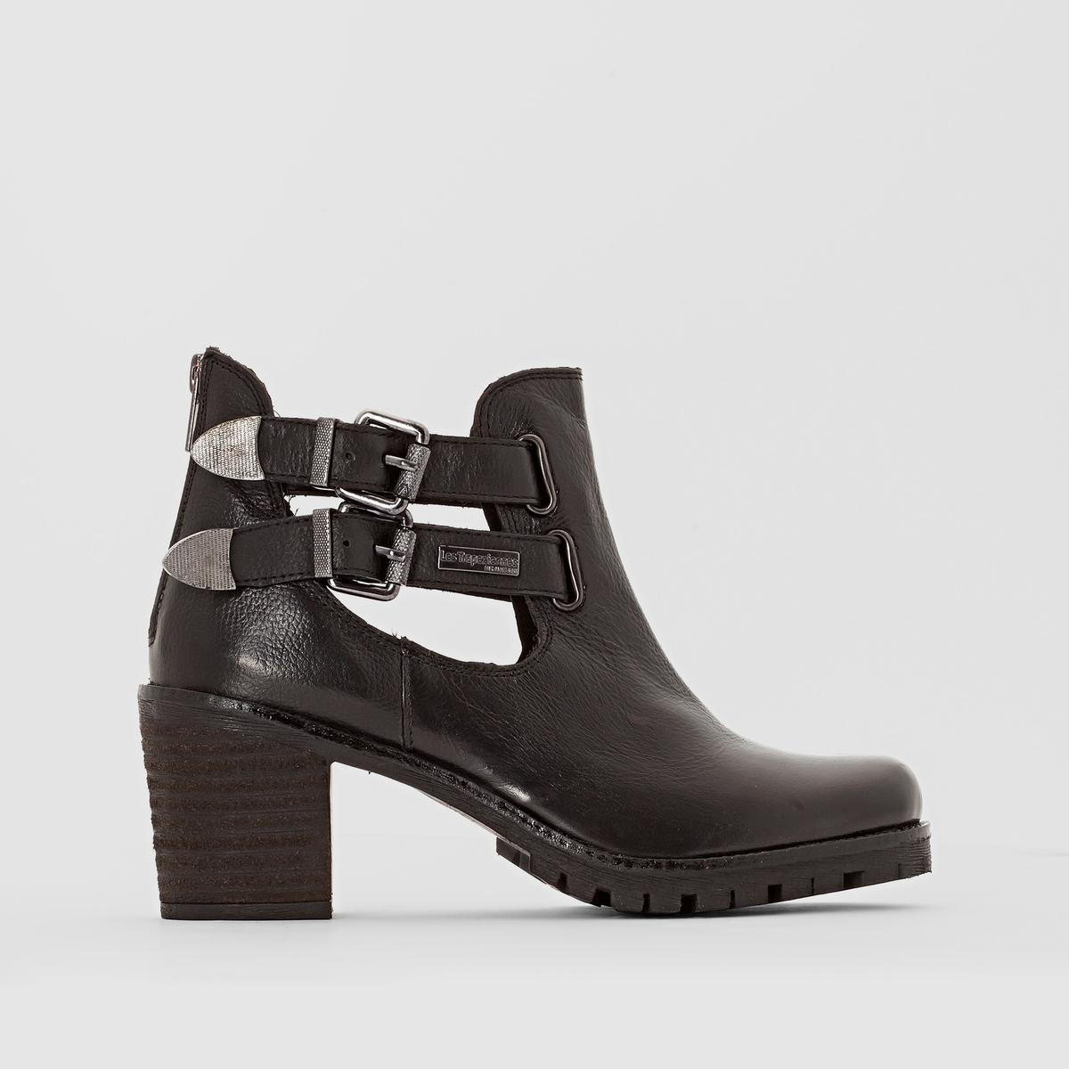 Ботильоны кожаные на каблуке, LUMINAВерх/ Голенище: Яловичная кожа.       Подкладка: Текстиль.            Стелька: Кожа.           Подошва: Синтетический материал.         Форма каблука: Широкая.  Мысок: Круглый.       Застежка: На молнию.<br><br>Цвет: черный<br>Размер: 39