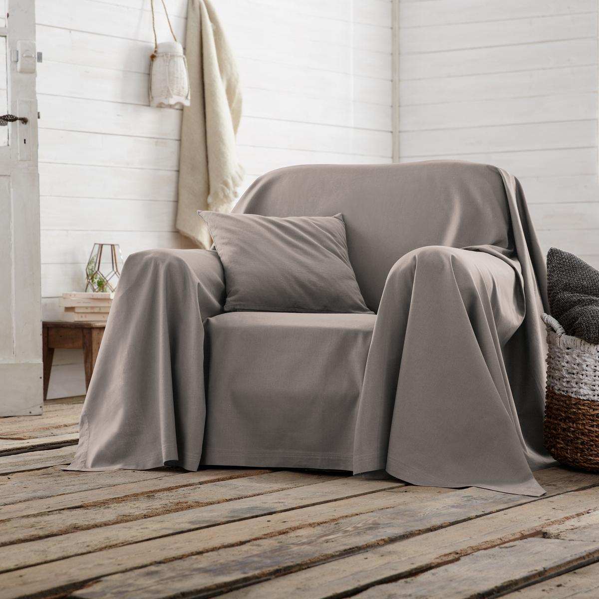 Покрывало однотонное для кресла или диванаХарактеристики покрывала для кресла или дивана :- Хлопковая ткань (220 г/м?).- Простой уход: стирка при температуре 40°, превосходная стойкость цвета.Производство осуществляется с учетом стандартов по защите окружающей среды и здоровья человека, что подтверждено сертификатом Oeko-tex®.<br><br>Цвет: облачно-серый,рубиново-красный,серо-коричневый каштан