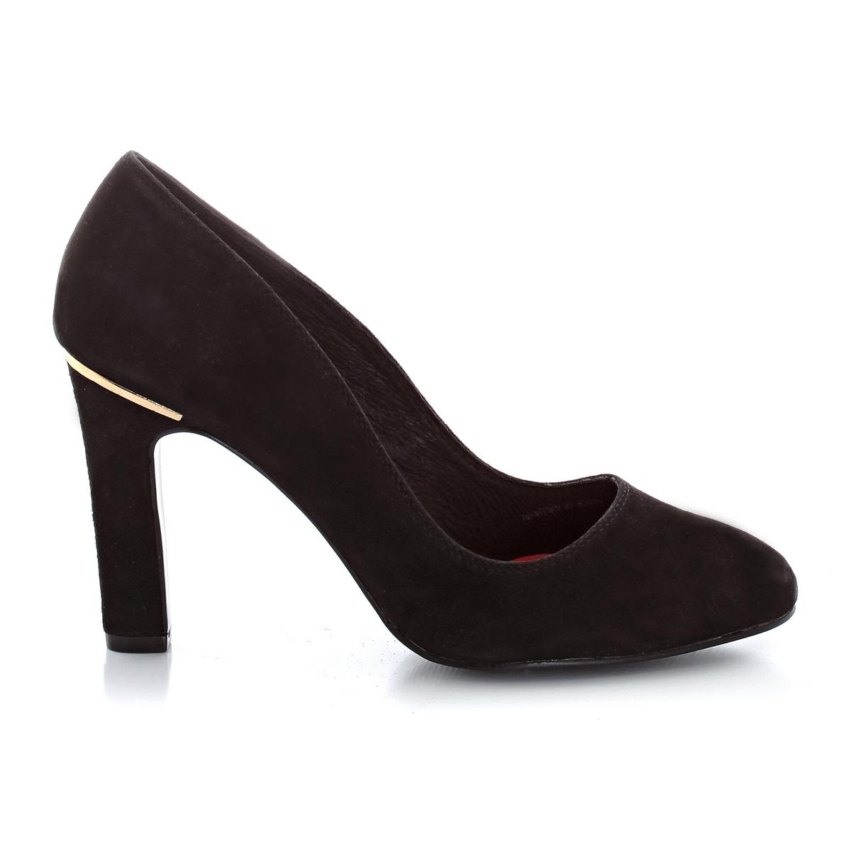 Туфли из нубуковой кожи с золотистыми деталями, на каблукеВыполненные из очень мягкой кожи, эти туфли подчеркнут стройные ноги и привлекут внимание золотистыми деталями : женственность и элегантность в туфлях Elle !     Верх : телячья кожа    Подкладка : кожа   Стелька : кожа   Подошва : синтетика   Застежка : без застежки   Высота каблука : 10 см<br><br>Цвет: черный<br>Размер: 38
