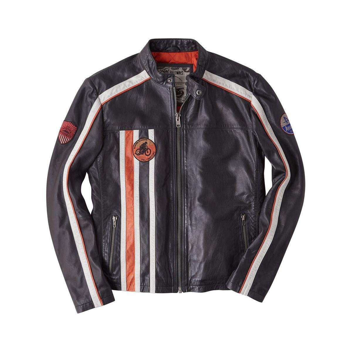 Browns Rétro Veste Cuir Homme Noir Moto Joe Véritable Brown Orange BCdoexr