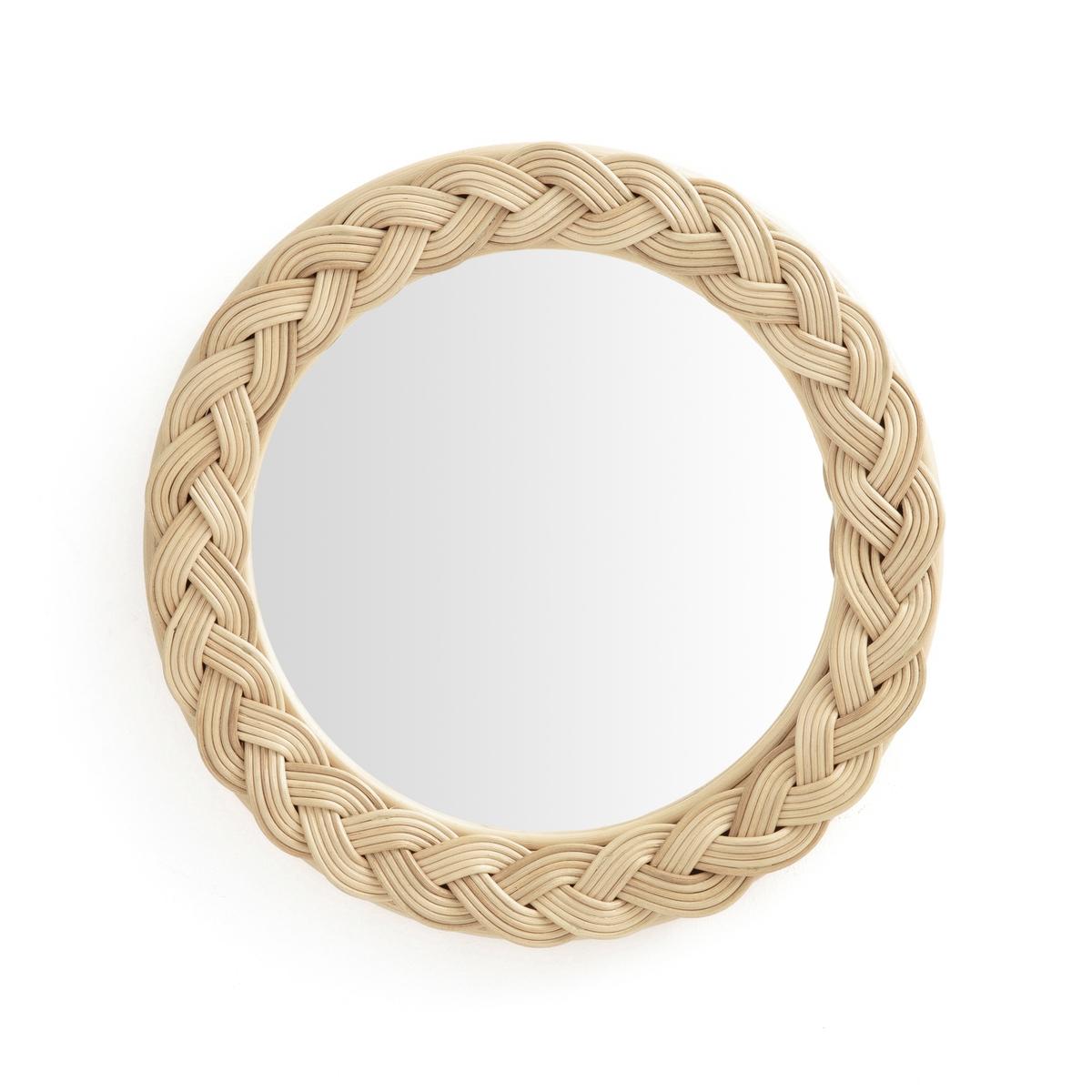 Зеркало круглое с плетеным ротангом, Rybatt