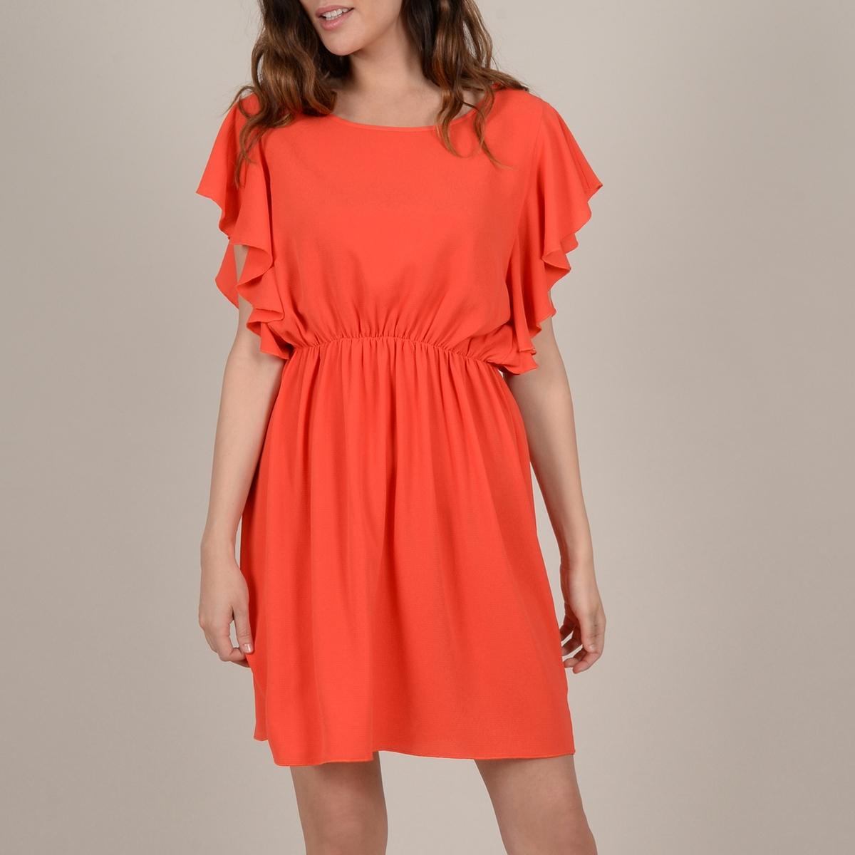 Платье La Redoute С короткими рукавами с воланами и эластичным поясом S/M красный платье la redoute с цветочным рисунком короткими рукавами и воланами на груди s оранжевый