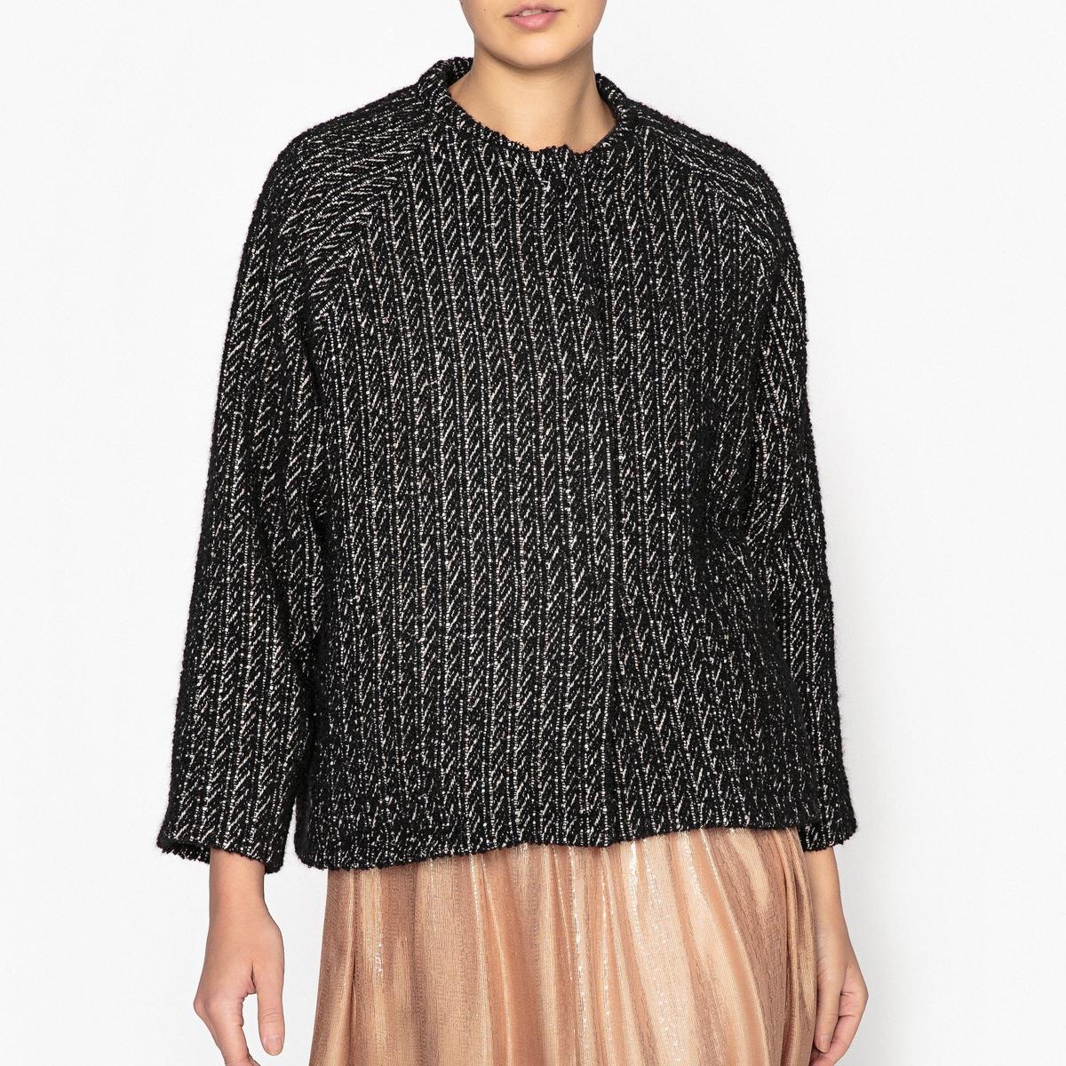 Пиджак двухцветный свободного покроя из шерсти меланж
