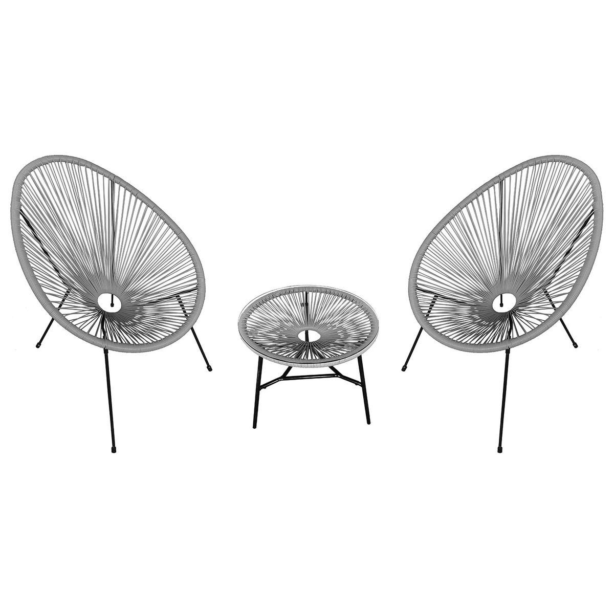 Ensemble de 2 fauteuils oeuf + table Acapulco