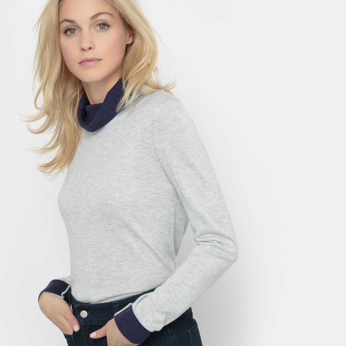 Пуловер двухцветный, воротник-хомут, шерсть в составе