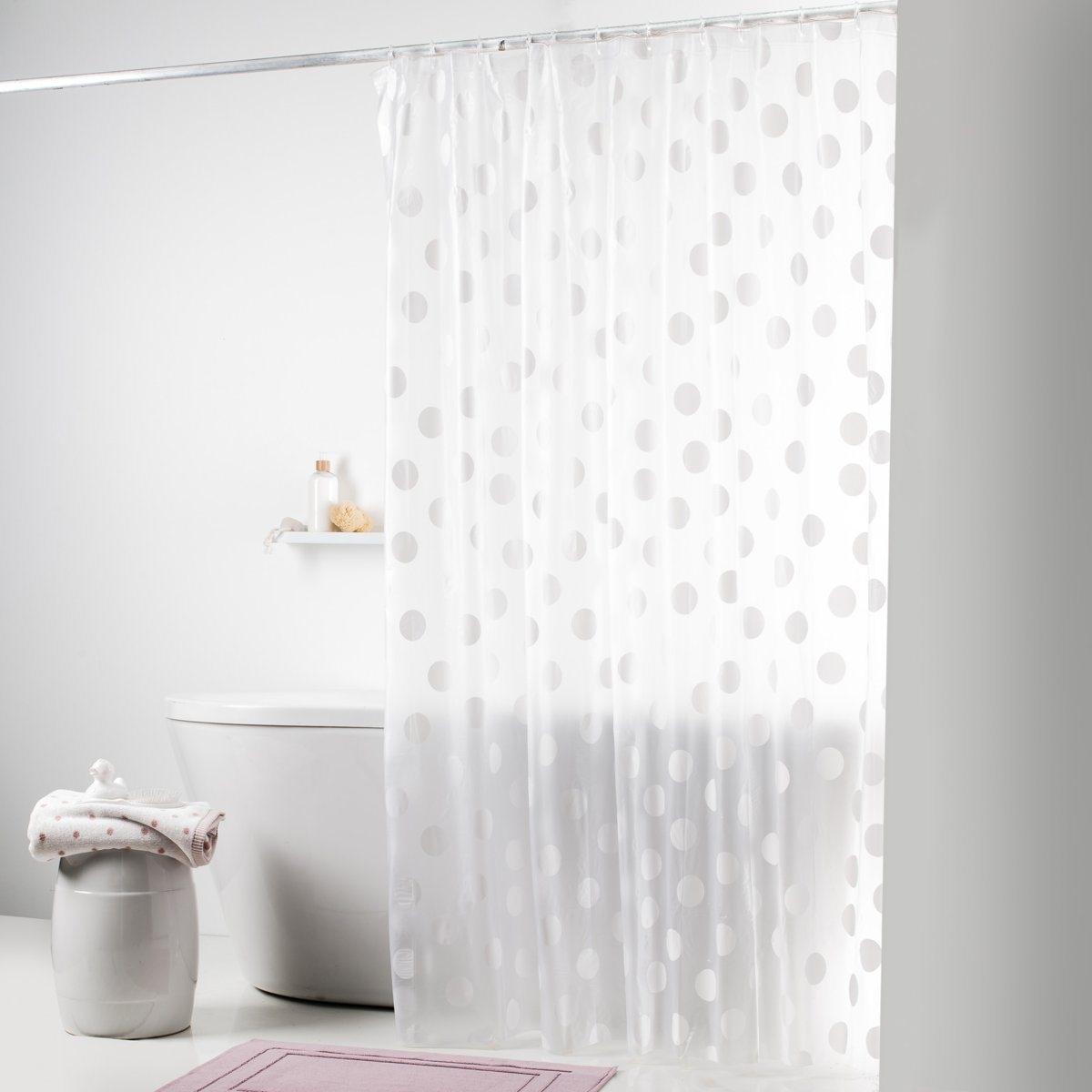 Штора для душаШтора Гольф в белый горошек на прозрачном фоне для современной ванной! 100% ПВХ. В комплекте прозрачные пластиковые крючки для крепления. Размер: высота 180 см, ширина 180 см.<br><br>Цвет: прозрачный