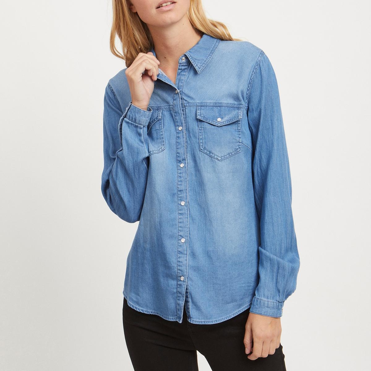 Рубашка La Redoute Приталенная с длинными рукавами S синий рубашка la redoute джинсовая узкая jjesheridan s синий