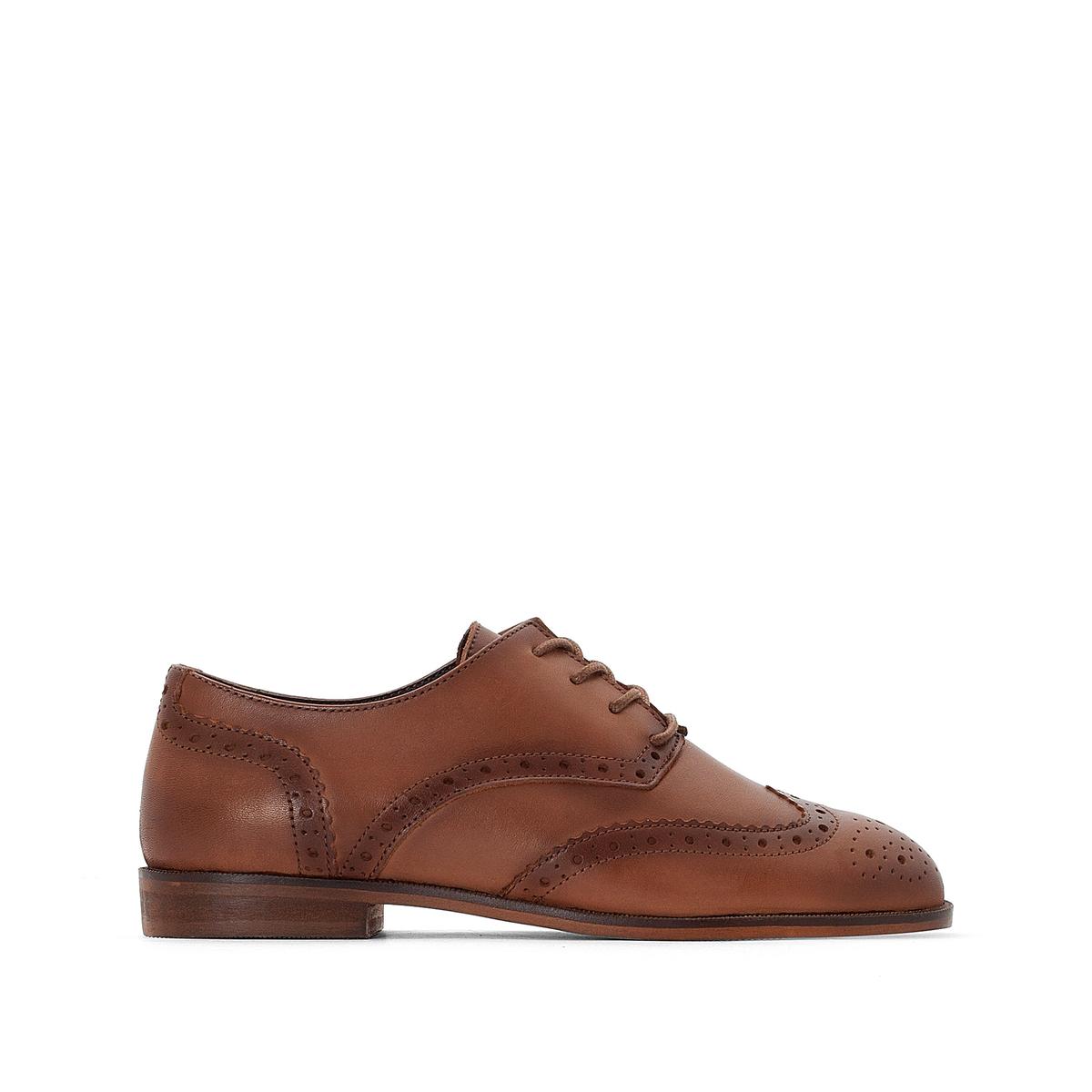 Ботинки-дерби La Redoute Кожаные с мыском перфорированным 41 каштановый туфли la redoute кожаные с открытым мыском и деталями золотистого цвета 41 черный