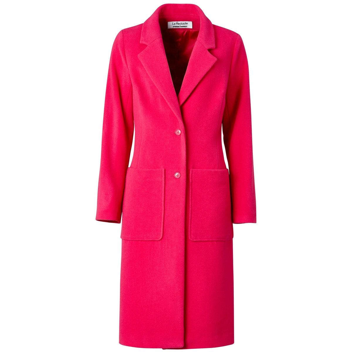 Пальто из 100% шерстиПальто прямого покроя из 100% шерсти. 2 накладных кармана. Подкладка из 100% вискозы. Длина 109 см.<br><br>Цвет: фуксия<br>Размер: 38 (FR) - 44 (RUS)