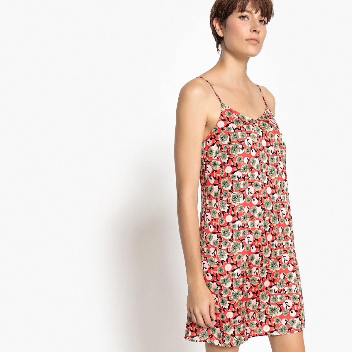 Платье La Redoute Короткое прямое с цветочным рисунком на тонких бретелях 32 (FR) - 38 (RUS) красный платье прямое с цветочным рисунком и контрастной полосой сзади