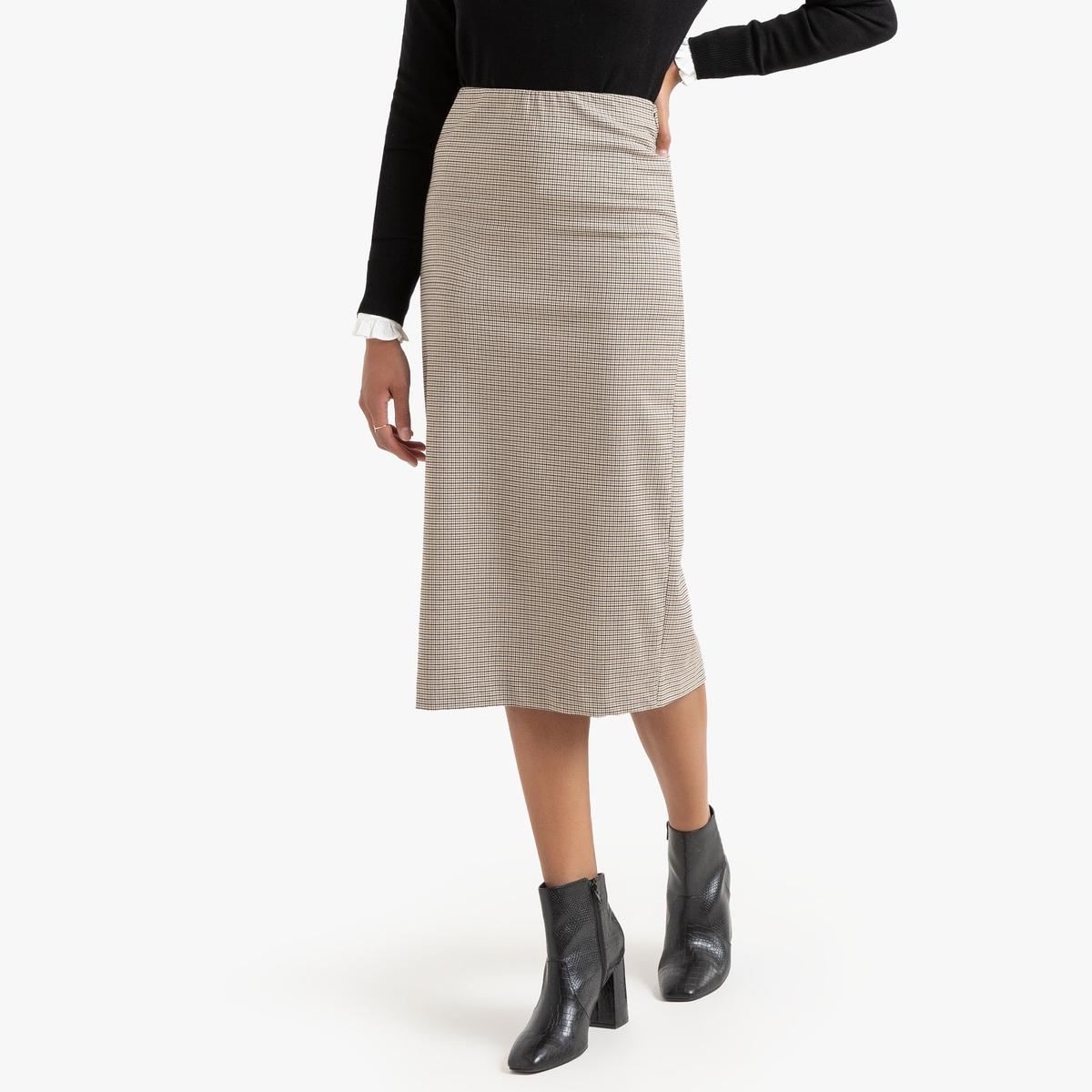Falda tubo con cuadros pequeños, semilarga