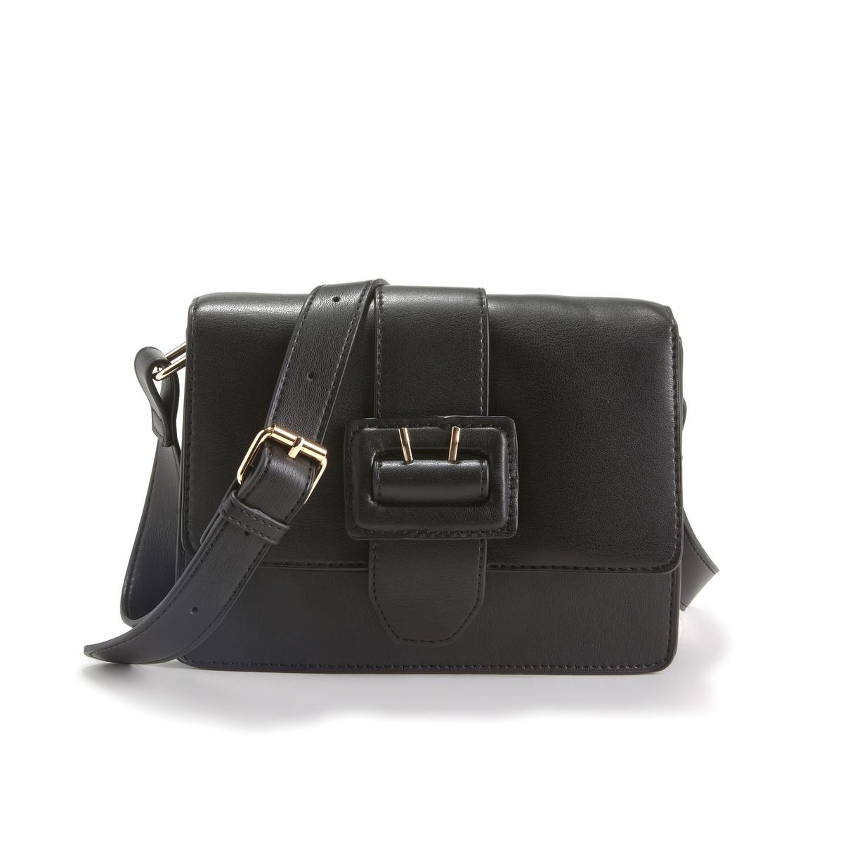 Сумка La Redoute С клапаном и декоративной пряжкой единый размер черный сумка la redoute из ткани с блестками h единый размер черный