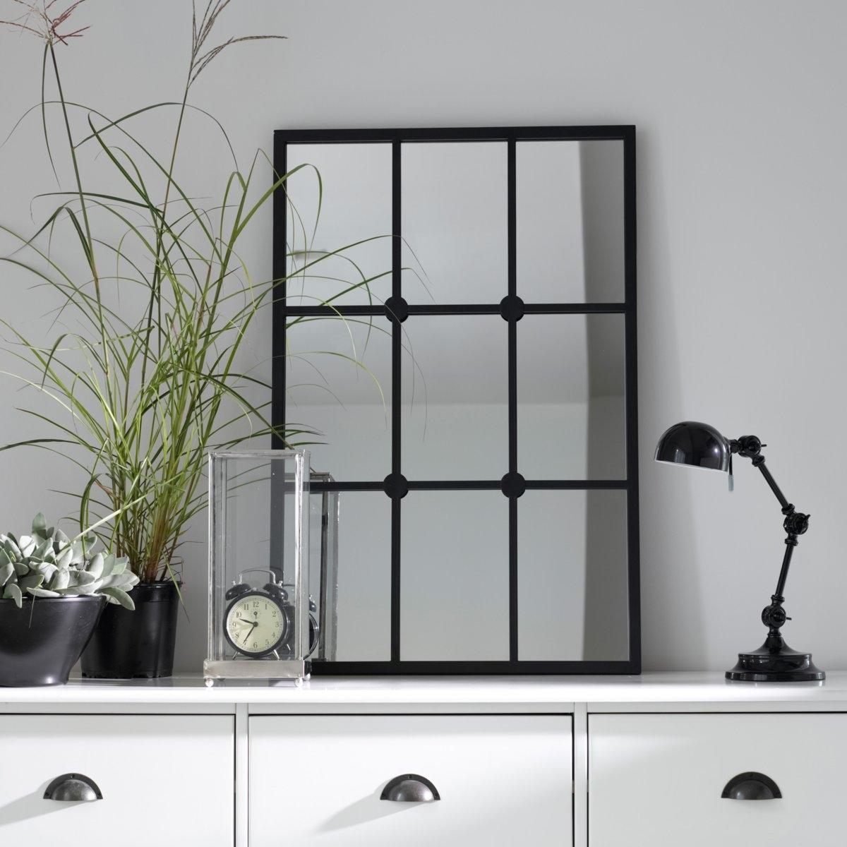 Зеркало-имитация окна LenaigЗеркало-имитация окна Lenaig. Расширьте пространство вашей гостиной, прихожей, коридора с помощью зеркала, имитирующего окно.                                                                                                       Характеристики зеркала Lenaig:  Окрашенный металл, отделка черного матового цвета.                    Задник из МДФ черного цвета.                    2 настенных крепления, винты и крепления продаются отдельно.                                                                                      Найдите всю коллекцию Alaria на сайте laredoute. ru.                                           Размеры зеркала Lenaig:                                          Ширина: 60 см.       Высота: 90 см.                                         Размеры и вес в упаковке:   Ш.68 x В.7,5 x Г.98 см.  10,3 кг.<br><br>Цвет: черный